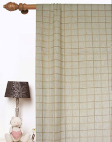 Plaid Check Linen Drapes and Curtains